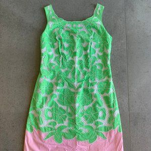 Lilly Pulitzer green + pink lace dress size 0